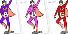 A-Z Alphabet on Superheroes (Multicolour)