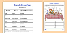 French Breakfast Label and Learn