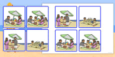 Sequencing Cards at the Beach