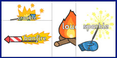 Bonfire Night Topic Words on Fireworks