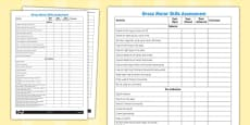 Gross Motor Skills Pupil Assessment Sheet