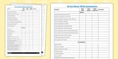 Gross Motor Skills Pupil Assessment Sheet