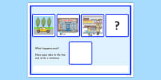What Happens Next? Fill in the Blank Activity Sheet for 'Going to the Supermarket'