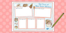The Tale of Mrs Tiggy Winkle Book Review Writing Frame (Beatrix Potter)