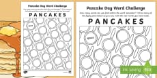 * NEW * Pancake Day Word Challenge Activity Sheet