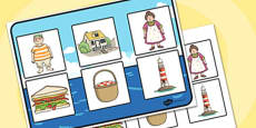 Matching Cards and Board to Support Teaching on The Lighthouse Keeper's Lunch