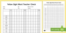 Yellow Reading Sight Words Checklist
