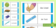 Classroom Objects Card Game German