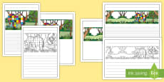 Black and White Lined Writing Frames to Support Teaching on Elmer