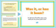 Using the Present Perfect Form of Verbs in Contrast to Past Tense PowerPoint