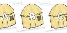 A-Z Alphabet on Straw houses