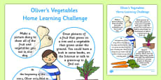 Home Learning Challenges to Support Teaching on Oliver's Vegetables Sheet Nursery FS1