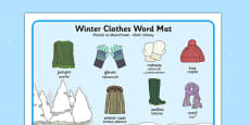 Winter Clothes Word Mat Polish Translation