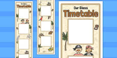 Pirate Themed Vertical Visual Timetable Display