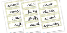 Materials Word Cards