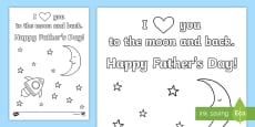 I Love You to the Moon Father's Day Coloring Page