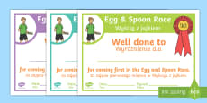 Sports Day Race Certificates - English/Polish