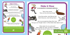 Make a Move!  An introduction to movement and forces STEM A4 Display Poster
