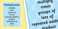 Multiplication Vocabulary Poster (Large)