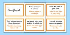 Irish Gaeilge Seanfhocail with Translations Display Cards