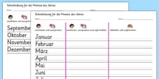 Months of the Year Writing Practice Activity Sheets German