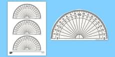 180 Degree Protractor Printable Math Tool