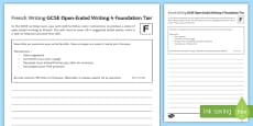GCSE French Open Ended Writing 4 Foundation Tier Activity Sheet