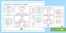 Connectors and Conjunctions Word Mat Spanish/English