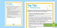 * NEW * Top Tips for Teaching Boys Adult Guidance