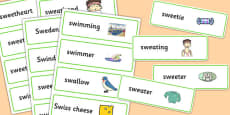 Two Syllable 'SW' Word Cards