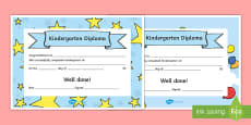 Editable Kindergarten Diplomas