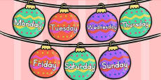 Australia Days of the Week on Baubles
