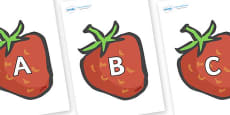 A-Z Alphabet on Strawberries