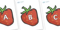 A-Z Alphabet on Strawberries