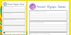 Ancient Olympic Games Research Sheet
