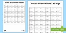 KS1 Ultimate Number Facts 5 to 9 Challenge Activity Sheet
