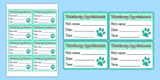 Vets Surgery Pet Appointments Cards