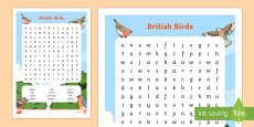 KS1 British Birds Word Search