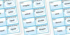 Antonyms with Prefixes Loop Cards