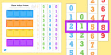 Thousands Hundreds Tens And Units Place Value Sliders
