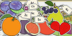 Priced Pieces of Fruit Mixed Up to 20c Afrikaans Translation