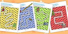 Pencil Control Path Activity Sheets to Support Teaching on The Bad Tempered Ladybird