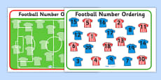 Football Strip Number Ordering Activity