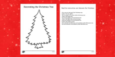 Christmas Tree Decorating Reading Comprehension Activity
