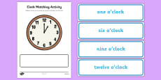 Clock Matching Activity