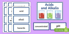Acids and Alkalis Word Wall