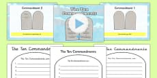The Ten Commandments Information PowerPoint and Worksheet