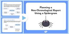 Planning a Non-Chronological Report Using a Spidergram PowerPoint