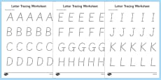 Letters Numbers and Shapes Tracing Activity Sheet