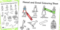 Hansel and Gretel Words Colouring Sheet